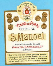 Vtg embossed gold Label OLD PORT WINE Vinho do Porto export to S.Paulo BRAZIL