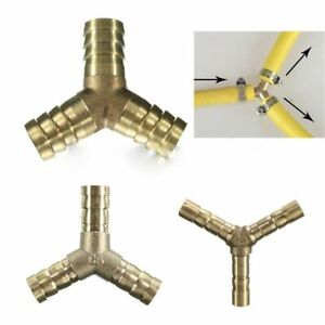 """Brass Barbed Hose """"Y"""" Splitter 3Way Nozzle Joiner Connector Air Fuel Pipe ID1751"""