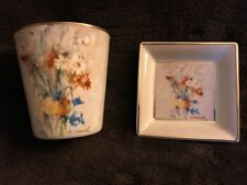 "Berta HUMMEL Gallery ""Wild Flowers"" Votive & Mini Square Plate 2 Piece Set 2004"
