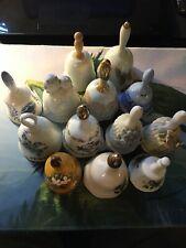 Lot of 13 Bells Vintage Otagiri Handmade Autumn Treasures States Flowers Euc