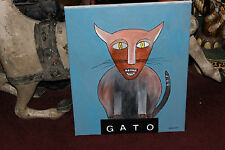 Original Abstract Modernism Cat Portrait Painting-GATO-Signed Marbach-Colorful