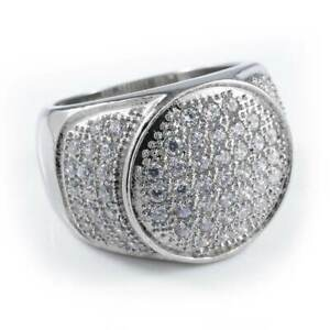 18K IP White Gold Out Iced Lab Diamond Band Stainless Steel Micropave Mens Ring