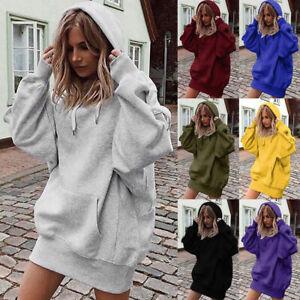 Womens Ladies Loose Hoodies Punk Lightweight Hooded Sweatshirt Shift Mini Dress