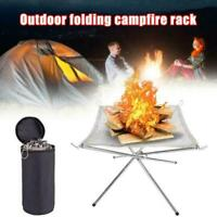 Portable Foldable Campfire Rack Outdoor Camping Burning Fireplace Fire Rack K8H3
