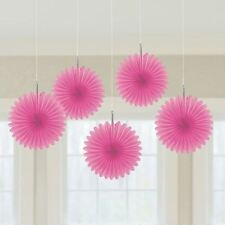 5pk Bright Pink Mini Paper Fans 15cm Birthday Wedding Event Party Decorations