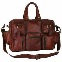 Men's Leather Vintage Duffel Luggage Suitcase Messenger Gym Overnight Travel Bag