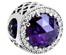 Authentic Silver925 ALE Radiant Heart Purple Bead Charm Without Pandora Pouch