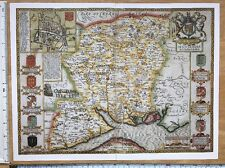 """Old Tudor map of Hampshire, Winchester: John Speed 1600's 15"""" x 11"""" (Reprint)"""