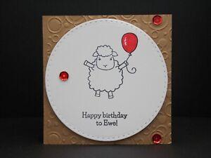 Handmade 'Happy Birthday to Ewe' Sheep Card