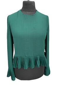 Zara Trafaluc Blouse Size 12 Bottle Green Semi Sheer Pleated Trim Party