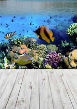Seabed Scenic Photo Backdrop Fish Wood Floor Vinyl Photography Background 5x7ft
