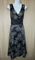 Ted Baker Womens Black Ivory Spotted Belted Silk Fit&Flare Dress Size 4 (14)