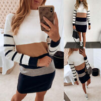 Women Turtle Neck Knitted Jumper Sweater Mini Dress Long Sleeve Bodycon Dr NT