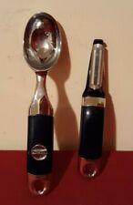 KitchenAid Qvc 2 Pc Set Chrome Ice Cream Scoop & Swivel Peeler Blue ✞