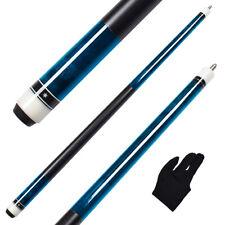 58 Inch 1/2-Piece Billiard Blue Pool Cue Stick Hard Maple shaft 13mm Leather Tip