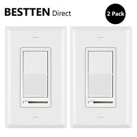 2PK Wall Light Switch Slide Dimmer Switch for 150W LED CFL/600W Incandescent UL