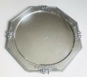 Rare European large solid silver tray or dish, Austrian, hallmarked c1943