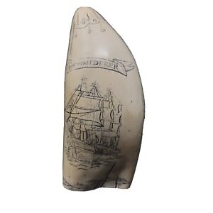 "SCRIMSHAW FAUX WHALE TOOTH ""THE WANDERER"" BEAUTIFULLY CRAFTED"