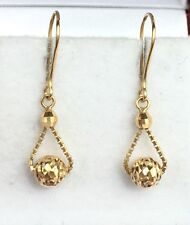 18k Solid Yellow Gold Cute SmallDangle Leverback Earrings, Diamond Cut 1.20Grams