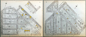 Original 1922 Maps of Brooklyn - Parts of Bensonhurst and Mapleton. Vintage