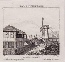 GRAVURE DE 1835  --  GUYANE TERRAINS MOUILLES  MAISON ET MOULIN   3J430