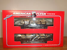 AMERICAN FLYER S GAUGE # 6-48507 TWO U.S. ARMY FLATCARS WITH TANKS  - NEW