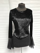Gothic Steampunk Raven Black Velvet Top With Chiffon Cuff Am