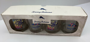 NIB Tommy Bahama Double Old Fashioned 14oz Dolphin Glasses Set of 4