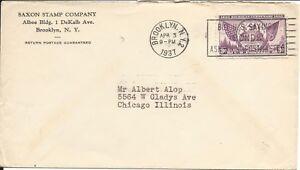U.S. - BROOKLYN, N.Y. APRIL 3, 1937 COVER USING SCOTT's # 775