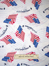 Star Spangled Banner Flag Cotton Fabric Quilting Treasures A Nations Song YARD