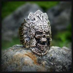 Aztec ring, Skull ring, Viking ring, Skull head, Ancient ring, Biker ring