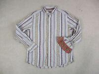 Robert Graham Button Up Shirt Adult 2XL XXL Brown Red Flip Cuff Mens A35