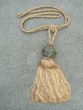 "Decorative Drapery Gold Braided Tie Back with Ball & 7 1/2"" Tassel"