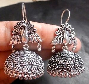 Antique Silver Plated Hook Style Peacock Indian Party Jhumka Earrings Set