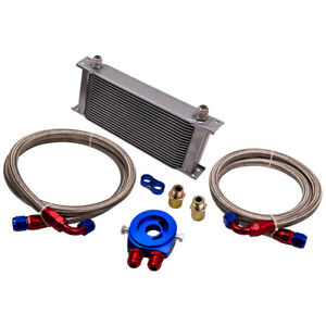 Universal Zusatz Ölkühler Set 19 Reihen mit Anschluss-Set Befestigungsadapter
