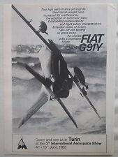 1/1968 PUB FIAT AVIAZIONE AVION FIAT G91Y AIRCRAFT TURIN SHOW ORIGINAL AD