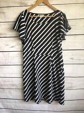 Ladies Vero Moda Navy Blue White Stripe A Line Dress Eur 42 Uk 12