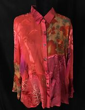 Chico's Design 3 XL 16 Silk Blend Sheer Abstract Embellished Red Hot Color Shirt