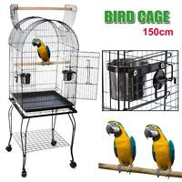 Portable Parrot Aviary Bird Cage OpenTop Wheels Pet Budgie Canary Parakeet