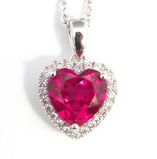 Noble Jewel heart Shaped Ruby 925 Sterling Silver Pendant Necklace