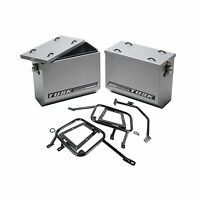 Aluminum Panniers with Pannier Racks Large Silver for Honda Africa Twin CRF1000L