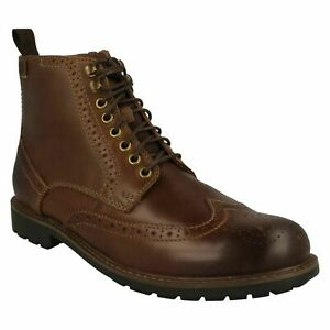 BOWZER HI MENS CLARKS LEATHER LACE UP SMART CASUAL COMFORT BROGUE ANKLE BOOTS