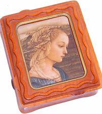 Danish Lady Jewelry Trinket Box Mid Century Danish Modern Wood Fabric Painting