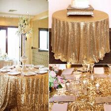 New Gold Sparkly Sequin Tablecloth Table Cloth Banquet Wedding Party Decor 120cm