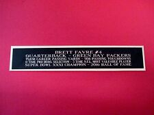 Brett Favre Green Bay Packers Nameplate For A Football Mini Helmet Case 1.25 X 6
