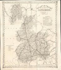 1850 Ca ANTIQUE MAP -  LANCASHIRE-BRITISH GAZETTEER