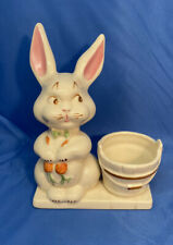 1950's Vintage N.S. Pottery Easter Bunny With Carrot Succulent Planter Decor