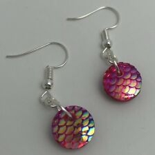 Mermaid Egg / Dragon Egg Scales Silver Plt Charm Earrings Red Pink AB I030