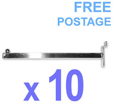 10 X Slat Panel Straight Faceout Arm 300mm Clothes Bracket for Slatwall