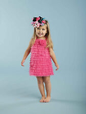New Mud Pie HOT PINK CHIFFON RUFFLE DRESS Baby Girl Gift 12-18 mos gift